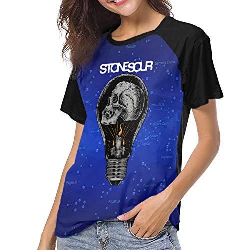 DanielCJackson Stone Sour Upgraded Version-Soft Women's Baseball Short Sleeves Tshirts Raglan Sleeve Pattern Tops Blouse - L ()