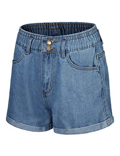 Blevonh Blue Jean Shorts for Women,Missis Banded Waist Mid Rise Folded Hem Side Back Pockets Denim Short Pant Outwear Errands Slimming Classic Fit Beautiful Clothes Button Closure M