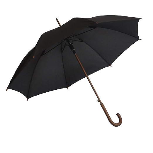 727c9ed8b SoulRain Windproof Classic Umbrella With Wood Hook Handle, Auto Open  Unbreakable Black Rain Umbrella