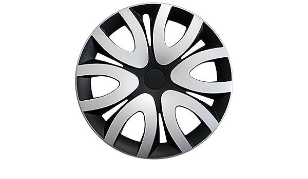 Tapacubos - Tapacubos Tapacubos Mika bicolor negro de plata 15 pulgadas 15 R15 Chevrolet Daewoo Lanos, Nexia, MATIZ, NUBIRA, Spark: Amazon.es: Coche y moto