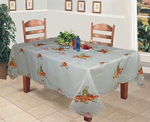 Autumn Harvest Thanksgiving Embroidered Cutwork Pumpkin Sunflower Tablecloth 70x120 Rectangular with 12 Napkins Ivory ()