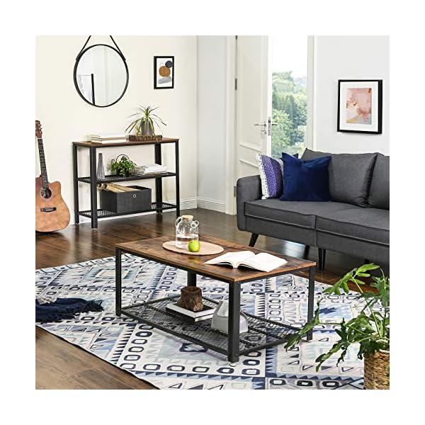 VASAGLE Table de Console, Table d'appoint, Buffet, avec 2 Étagères en Treillis, pour Salon, Couloir, 101,5 x 35 x 80 cm…