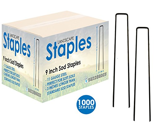 Sandbaggy Landscape Staples 9-inch Extra Long ~ Landscape Fabric Pins -Garden Staples Heavy Duty - Ground Cover Staples - Fence Anchors - Lawn Nails - Garden Stakes - Lawn Staples (1,000 Staples)