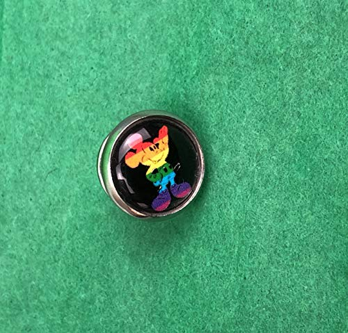 Rainbow Mickey Mouse, Silver Tone, Pin Back, Tie Tack, Lapel Pin, New, Gift