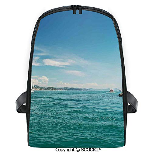 (SCOCICI 3D Digital Printed Backpack Day by the Seaside Sailboats Lighthouse Rocks Clear Sea Clouds Island Seascape Decorative Cute Outdoor Daypack)