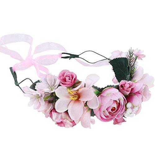2beab95d82a Flower Crown Bohemian Floral Headdress - AWAYTR Female Flower Headband Hair  Wreath Wedding Hair Accessories (