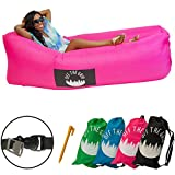 Off the Grid Inflatable Lounger - Air Sofa Wind Chair Hammock - Floating/Portable Bed for Beach, Pool, Camping, Outdoors Lazy Bag Cloud Couch (Pink)