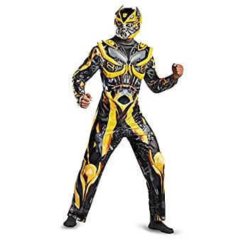 Disguise Men's Hasbro Transformers Age Of Extinction Movie Bumblebee Deluxe Costume, Yellow/Black, X-Large/42-46
