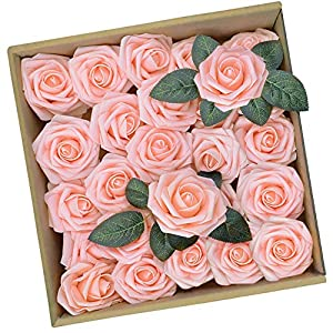 Artificial Pink Rose Flowers DIY Bouquets Fake Flower with Greeting Cards for Wedding Centerpieces Bridal Shower Party Home Decorations, 25pcs 86