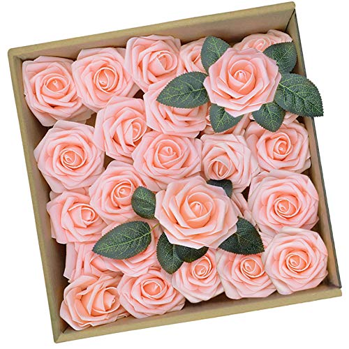 Artificial Pink Rose Flowers DIY Bouquets Fake Flower with Greeting Cards for Wedding Centerpieces Bridal Shower Party Home Decorations, 25pcs