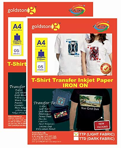d69605524 Gocolor TShirt Transfer Inkjet Paper Light Fabrics X 2 pack combo Make  custom Tshirts at home! As simple as 1-2-3: Amazon.in: Office Products