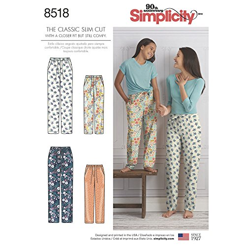 Simplicity Sewing Pattern D0838 / 8518 - Girls and Misses Slim Fit Lounge Pants, A (S - L / XS - XL)