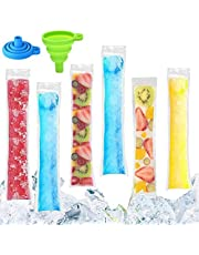 """2 x 11"""" 100 Pack Popsicle Bags with 2 Funnels, DIY Zip-Top Ice Pop Pouches, Disposable Popsicle Molds Bags, DIY Popsicle Freezer Bags for Gogurt, Ice Candy or Freeze Pops"""