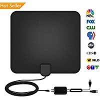 TV Antenna Indoor Digital Amplified HDTV Antenna 50-60 Miles Range 4K HD VHF UHF Freeview for All Types of Home Smart TV, with Detachable Ampliflier Signal Booster Strongest Reception 13ft Coax Cable