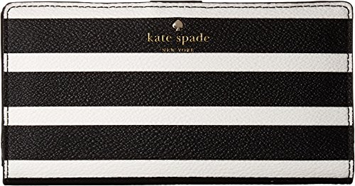 Kate Spade New York Women's Hyde Lane Stripe Stacy Wallet, Black/Cream, One Size