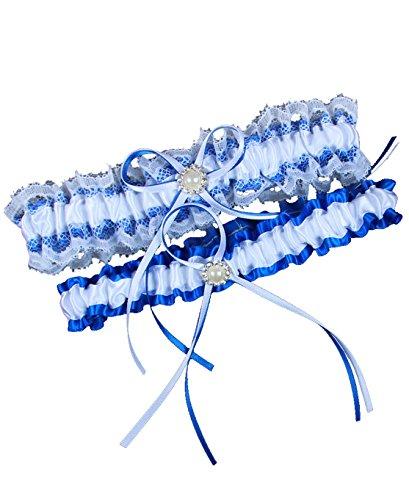 MerryJuly Wedding Bridal Garter Belt Set Royal Blue Free Size(15-23 inch)
