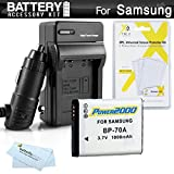 Battery And Charger Kit For Samsung WB50F, WB35F, WB30F, ST150F, DV150F, ST76, EC-PL120, MV800 MultiView Digital Camera Includes Extended Replacement (1000Mah) BP-70A Battery + Ac/Dc Charger + More