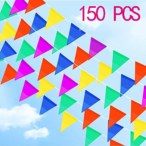 Emivery Multicolor Pennant Banner, Nylon Fabric Decorations Flags, String Banners for Party Decorations,Birthdays,Festivals,Christmas decorations (250 Ft)