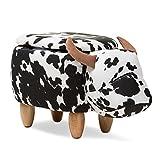 Baxton Studio Mignonne Contemporary Wool Upholstered Buffalo Storage Ottoman/Contemporary/Multi/Lambs Wool Fiber/Pine Wood/Foam