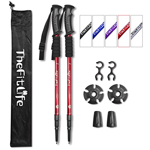 Lock Poles Trekking - TheFitLife Nordic Walking Trekking Poles - 2 Packs with Antishock and Quick Lock System, Telescopic, Collapsible, Ultralight for Hiking, Camping, Mountaining, Backpacking, Walking, Trekking (Red)