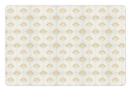 (Ambesonne Vintage Pet Mat for Food and Water, Ornamental Tracery Inspired Swirl Curl Elements Vertical Borders with Dots, Rectangle Non-Slip Rubber Mat for Dogs and Cats, Earth Yellow White)