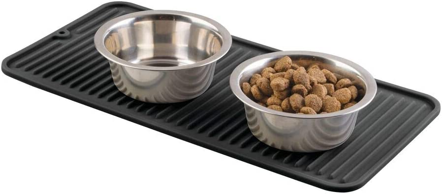 mDesign Premium Quality Pet Food and Water Bowl Feeding Mat for Dogs and Puppies - Waterproof Non-Slip Durable Silicone Placemat - Raised Edges, Food Safe, Non-Toxic - Small - Black