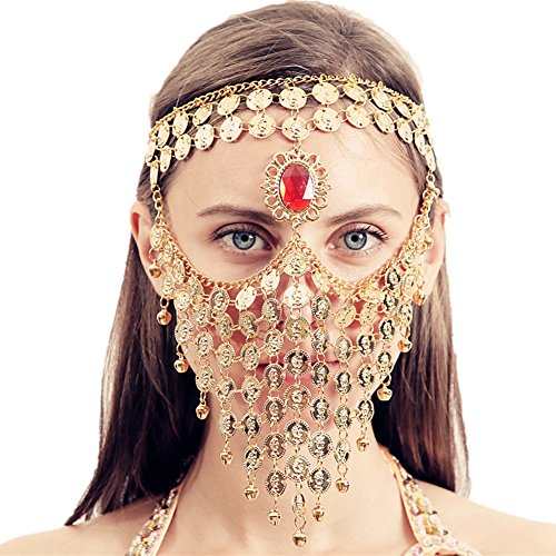 ZYZF Red Gem Belly Dance Egyptian Halloween Costume Headwear Coins Face Mask Veil Tribal Bedouin Burka Burqa Metal Head Chain (Golden) -