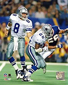 Dallas Cowboys Troy Aikman & Emmitt Smith In Action 8x10 Photo, Picture