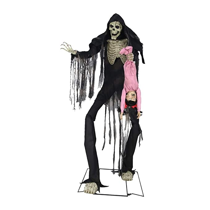 7 Feet Boogey Man With Kid Animated Halloween Prop