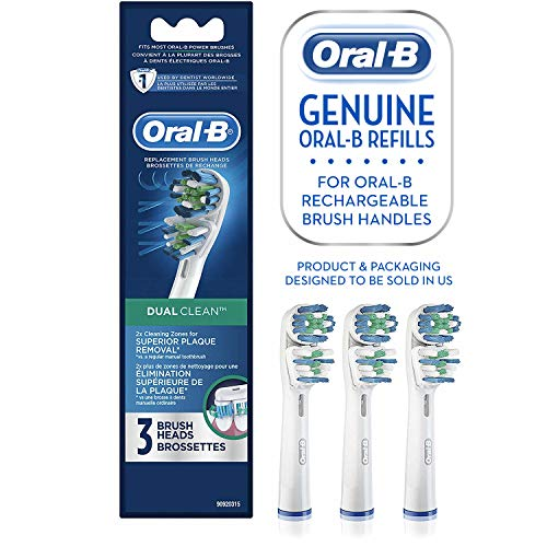 - Oral-B Dual Clean Replacement Electric Toothbrush Replacement Brush Heads, 3ct
