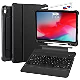 iPad Pro 12.9 Case with Keyboard 2018 3rd Gen - Not Fit 2017 2015 - Detachable Wireless iPad 12.9 inch Keyboard Case - Ultra Slim PU Leather - Shockproof Case - Support Apple Pencil Charging (Black)