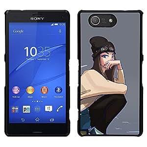 """For Sony Xperia Z3 Compact Case , Gris Hipster Skate Punk adolescente"""" - Diseño Patrón Teléfono Caso Cubierta Case Bumper Duro Protección Case Cover Funda"""
