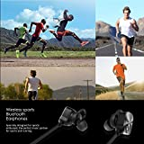 Bluetooth Sports Headphones, Mpow Wireless Bluetooth 4.1 Running Hands-free In -Ear Earphones Earbuds Stereo Earbuds Headset with Mic for Work Out Gym Exercise for iPhone 6 7 Plus Samsung Edge Black(Non-magnetic Control) Xmas Gift Bild 4