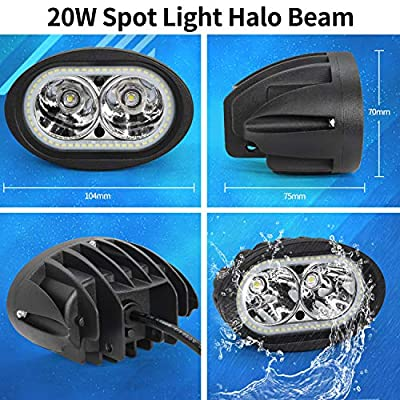 Dual Halo Led Headlight, Ourbest Led Motorcycle Driving Lights, Spot Beam Cree 4