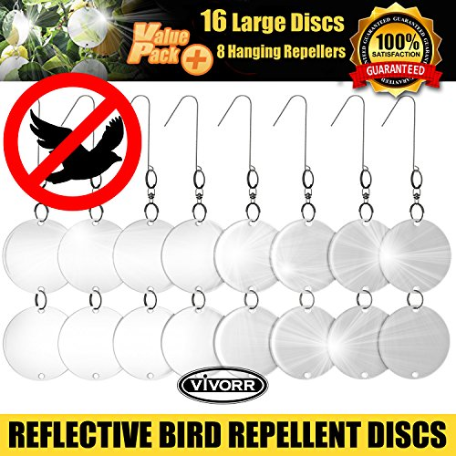Bird Repellent Discs, Reflective Repeller Hanging Device To Keep Birds Away Like Woodpeckers, Pigeons, Ducks, Herons, Grackles, Geese & Other Pest Birds. Protect Property & Crops From Damage & (Rubber Deflector)