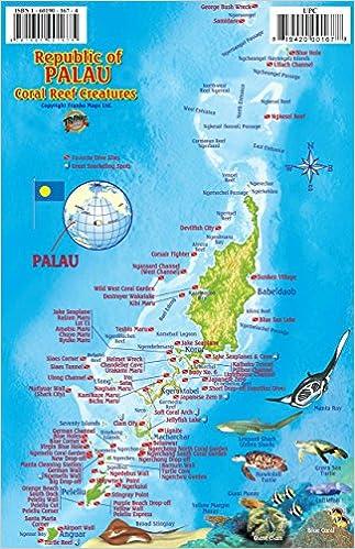 Palau Dive Map Reef Creatures Guide Franko Maps Laminated Fish - Palau map
