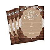 50 Celebration Invitations for Wedding Rehearsal Dinner, Bridal Shower, Engagement, Birthday, Bachelorette Party, Baby Shower, Reception, Anniversary, Housewarming, Graduation, Sweet 16, BBQ Cookout