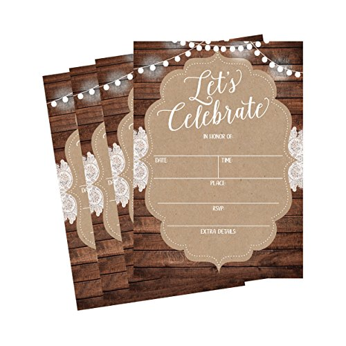 50 Celebration Invitations for Wedding Rehearsal Dinner, Bridal Shower, Engagement, Birthday, Bachelorette Party, Baby Shower, Reception, Anniversary, Housewarming, Graduation, Sweet 16, BBQ Cookout (Wedding Invitations Country Style)