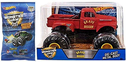 Classic Monster Jam Hot Wheels Big Retro Grave Digger 1:24 Scale 2017 Red Pickup - Mini Mystery Trucks Blind Bags (Series 1) with Launcher 25th Anniversary