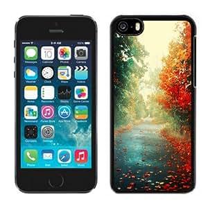 NEW Unique Custom Designed iPhone 5C Phone Case With Red Trees Autumn Path_Black Phone Case