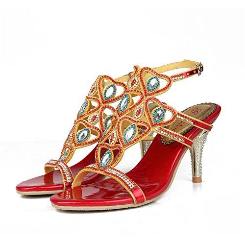tacón de sandalias Botas Rhinestone de verano fino Zapatos de mujer Sandalias CAI de tamaño abierta moda punta 41 Primavera w6gIYqv