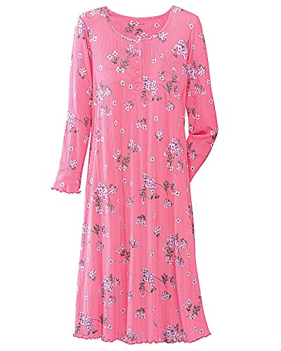 Knit Gown - National Comfy Pointelle Knit Gown, Pink Floral, Medium