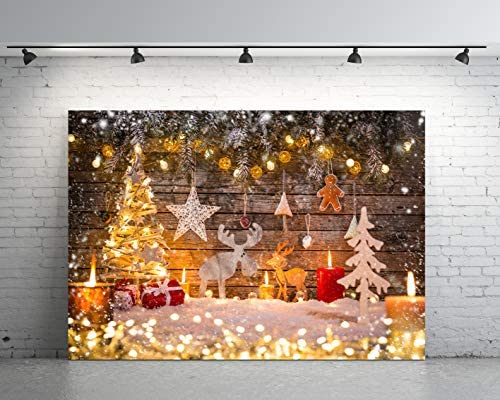 7x5ft Christmas Backdrop Christmas Tree Fireplace Wooden Wall