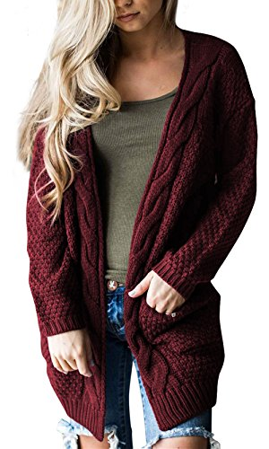 Steven McQueen Women's Cable Knit Sweater Open Front Long Cardigans Burgundy - Sweater Open Cable Cardigan