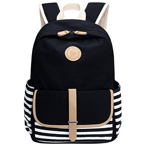 Bagerly Lightweight Canvas Laptop Bag Shoulder Daypack School Backpack Causal Handbag(Black)