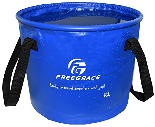 Freegrace Premium Collapsible Bucket -Multifunctional Folding Bucket -Perfect Gear for Camping, Hiking & Travel (Navy Blue, 16L)