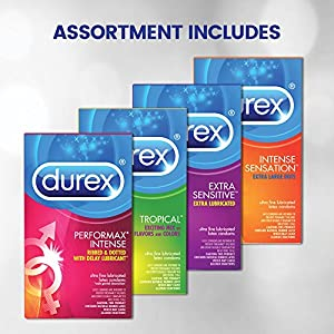 Durex Condom Pleasure Pack Assorted Natural Latex Condoms, 60 Count - An exciting mix of sensation and stimulation