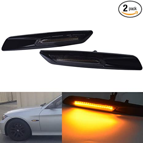 81c4921415b3 Amazon.com  2pc Gloss Black Type   smoked Lens F10 Style E60 E61 LED Fender  Side Marker Turn Signal Light for BMW 3 Series E90 E91 E92 E93  Automotive