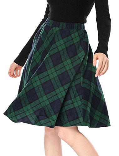 Allegra K Women's Plaids Elastic Waist Knee Length A Line Skirt Green XL (US 18)