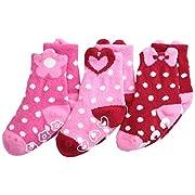 Jefferies Socks Baby Girls' Slipper Sock Triple Treat 3 Pair Pack, Pink/Red, Toddler Months
